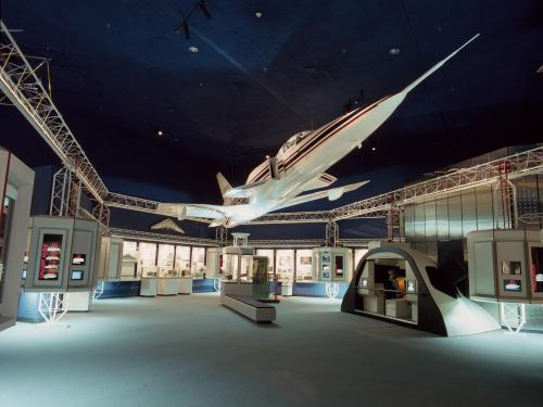 Grumman X-29 hanging in Beyond the Limits gallery