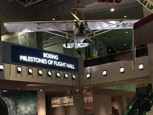 """Spirit of St. Louis"" Lowered in <em>Boeing Milestones of Flight Hall</em>"