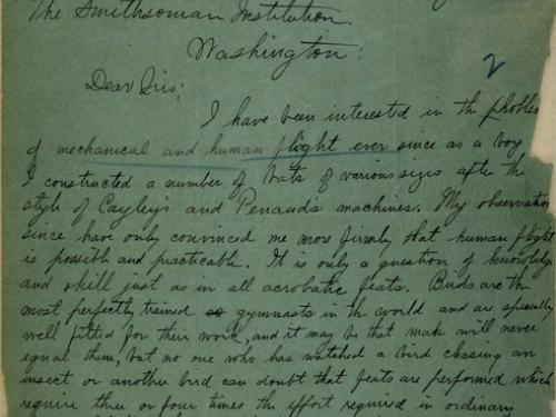 Wright Brothers Letter to Smithsonian (Pg 1 of 2)
