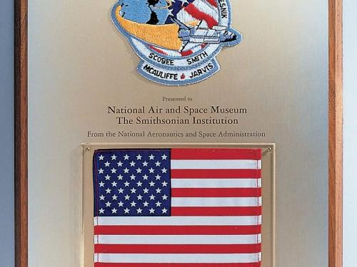 Space Shuttle Challenger Flag in the Moving Beyond Earth Gallery