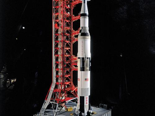 Saturn V rocket model in Apollo to the Moon