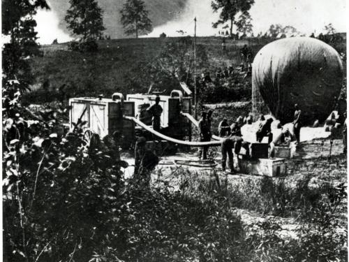 Thaddeus Lowe with his Inflation Wagons