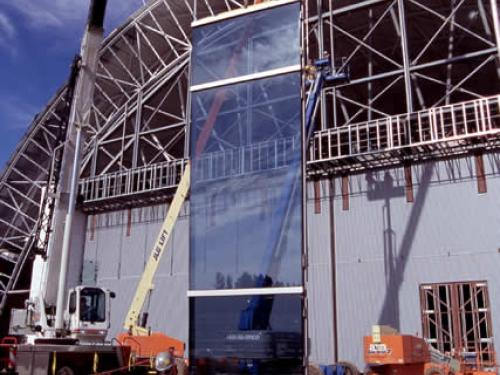 Glass for the south end of the Aviation Hangar
