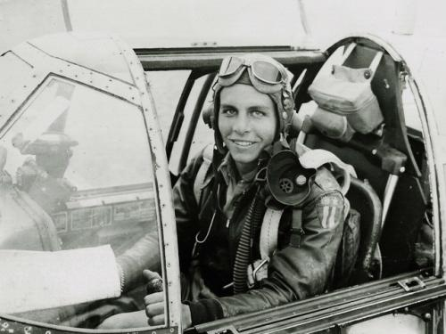 Don Lopez in P-51 Mustang during World War II