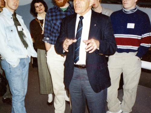 Don Lopez Speaking to Visitors