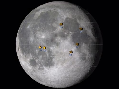 Approximate locations of the Apollo moon landing sites