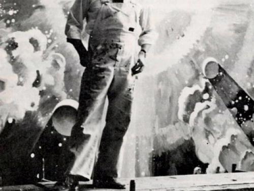 Robert McCall in front of A Cosmic View -- Black and White