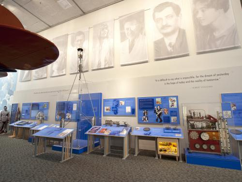 "Rocket Pioneers Display in the ""Barron Hilton Pioneers of Flight Gallery"""