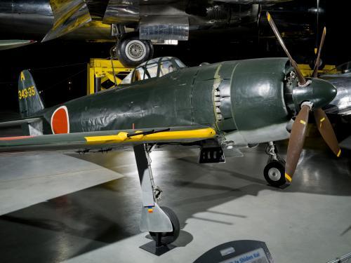 Kawanishi N1K2-Ja at the Steven F. Udvar-Hazy Aviation Hangar