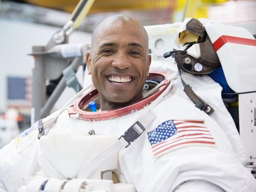 Astronaut Victor Glover training at the NASA Neutral Buoyancy Lab, 2014.