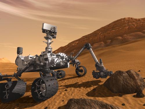 Artist concept of rover Curiosity on Mars.