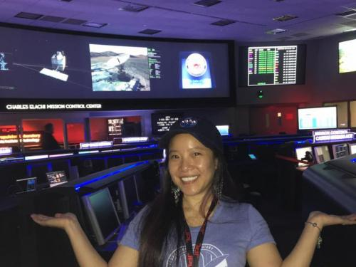 Programmer Melody Ho inside mission control at the NASA JPL