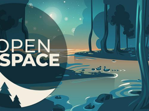 A graphic showing the OpenSpace logo over a forest background.