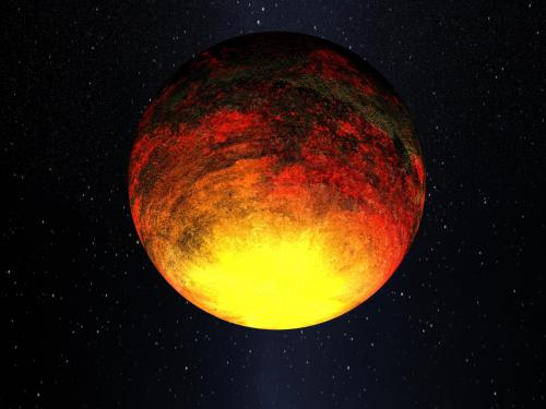 "Artist's impression of the extremely hot exoplanet Kepler-10b, nicknamed ""Vulcan."""