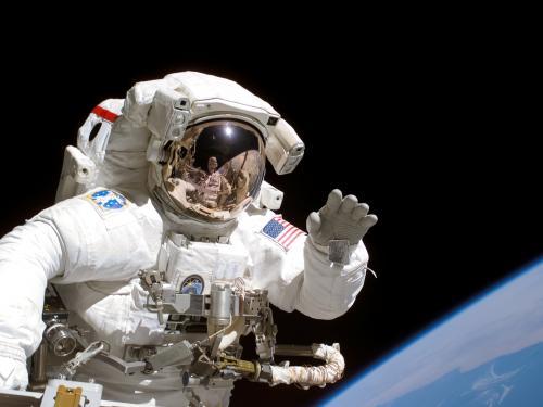Space Shuttle Astronaut on Spacewalk (STS-115)