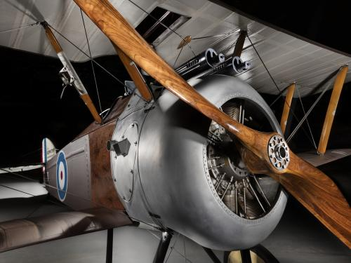 Front-side view of engine on Sopwith F.1 Camel aircraft
