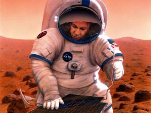 Sojourner and Astronaut on Mars