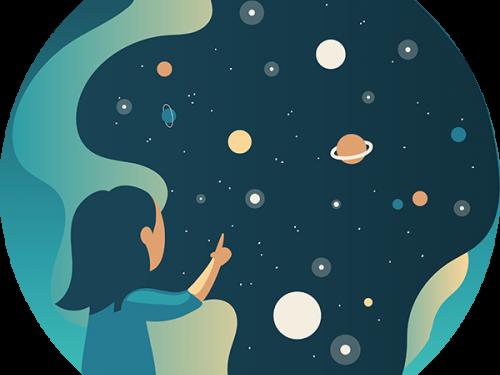 drawing of woman looking at stars