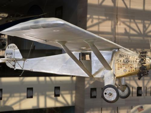 Ryan NYP Spirit of St. Louis on display in the Boeing Milestones of Flight Hall