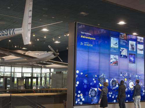 View of the Interactive Wall in the Boeing Milestones of Flight Hall