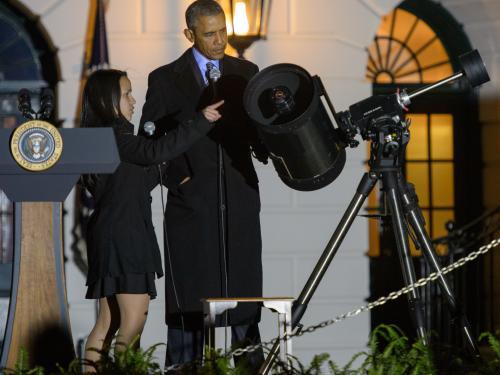 President Obama With Telescope