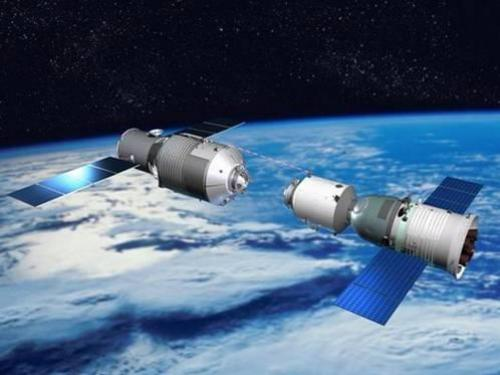 An artist's illustration of the China's Tiangong-1 space station