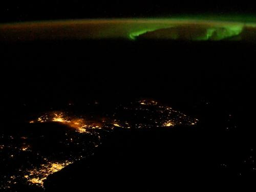 A photo of an aurora over Scotland taken by NASA astronaut Randy Bresnik aboard the International Space Station, November 24, 2017.