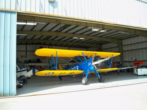 Image of the PT-13D in the MX hangar at Toccoa