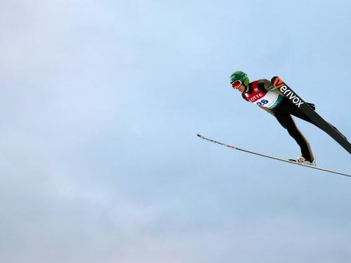A ski jumper competing in the FIS Nordic Combined World Cup