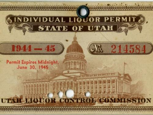Major Thomas Ferebee's Utah Liquor Ration Card