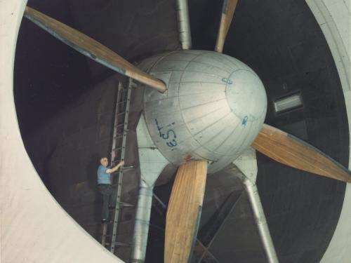 Technician Checks Fan Motor in Full Scale Wind Tunnel
