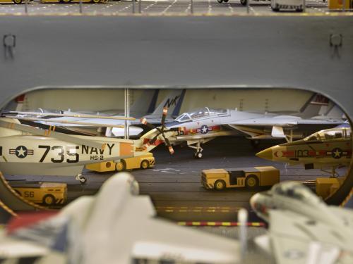 Jets aboard hangar deck of USS Enterprise Aircraft Carrier Model