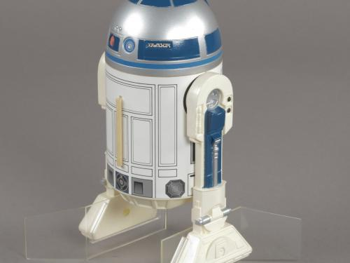 "Scale model of the ""Star Wars"" movie character R2-D2."