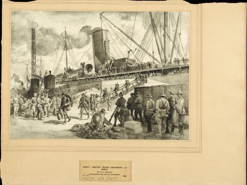 Newly Arrived Troops Debarking at Brest