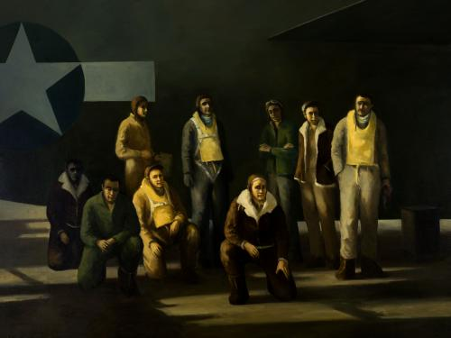 painting of nine men in front of aircraft