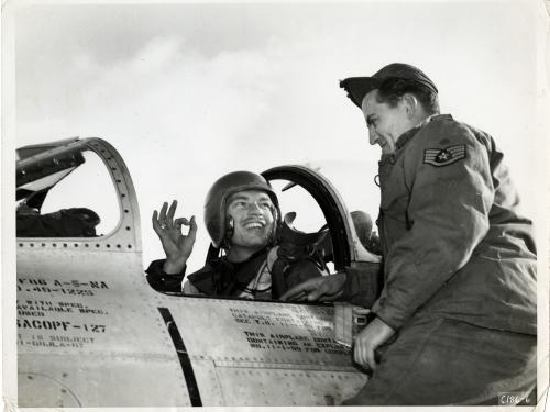Ward Hitt, Jr. in his F-86A Sabre Cockpit