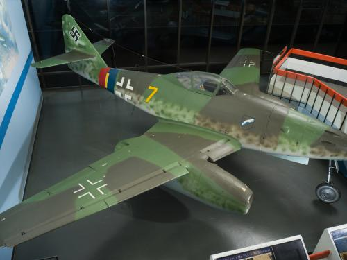 Top view of green, low-wing fighter jet Messerschmitt Me 262 on display at museum