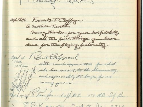 Page of Mother Tusch's Register