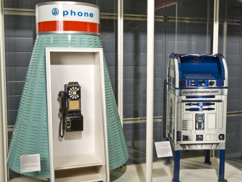 The R2-D2 mailbox on display at the National Air and Space Museum's Steven F. Udvar-Hazy Center.