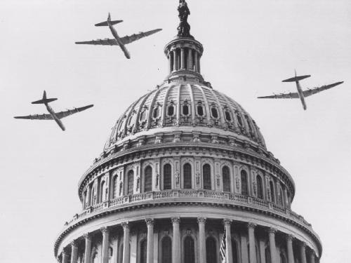B-36 Aircraft Fly Over Truman's 1949 Inauguration