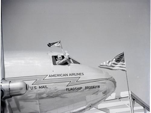 """Leo Durocher in American Airlines """"Flagship Brooklyn"""""""