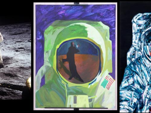 Three panels, one featuring a photograph of a man on the moon and two more showing artistic renditions.