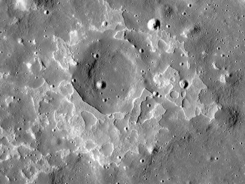 View from orbit of lava flows on the surface of the Moon