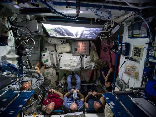 Expedition 54 crewmembers watched The Last Jedi on a special screen in the Unity module in December 2017.