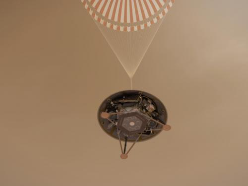 InSight on Its Parachute (Illustration)