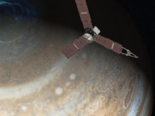 A rendering of the spacecraft Juno with Jupiter in the background.