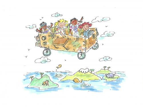 drawing of kids in homebuilt airplane