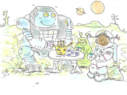 drawing of girl in spacesuit sitting at a tea party with two aliens