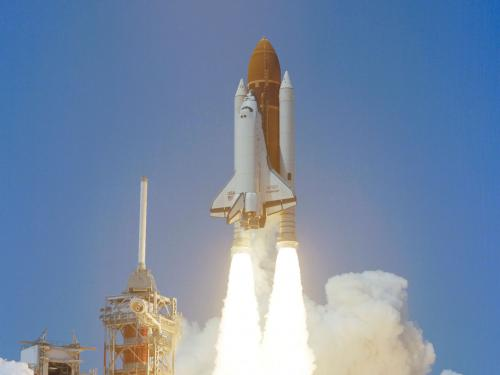 The Space Shuttle Challenger's first launch, 1983