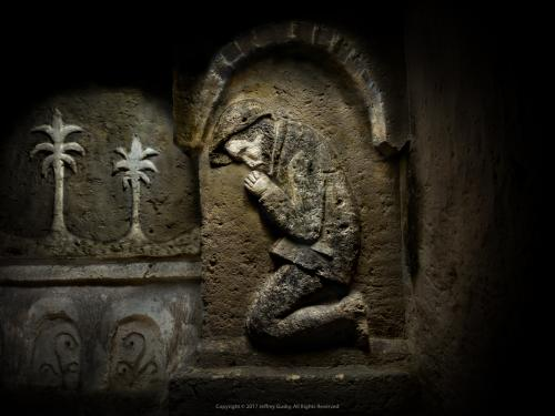 WWI Soldier Praying Engraved in Stone